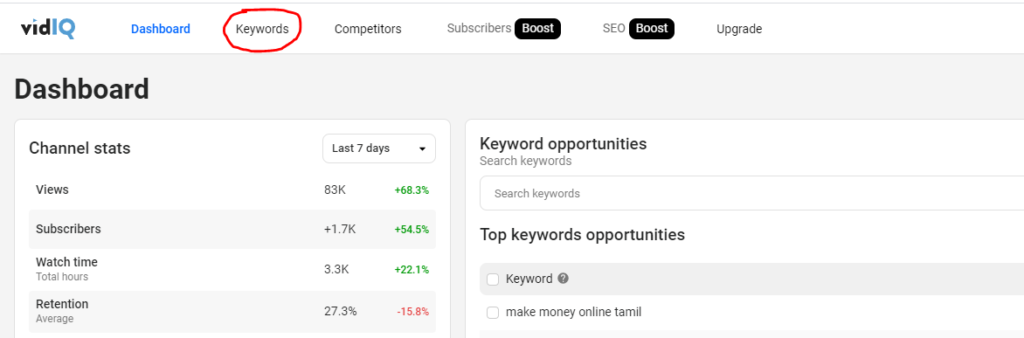 vidiq dashboard - Youtube keyword research tool