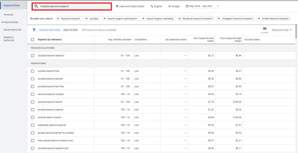 google keyword planner - Free youtube keyword research tool